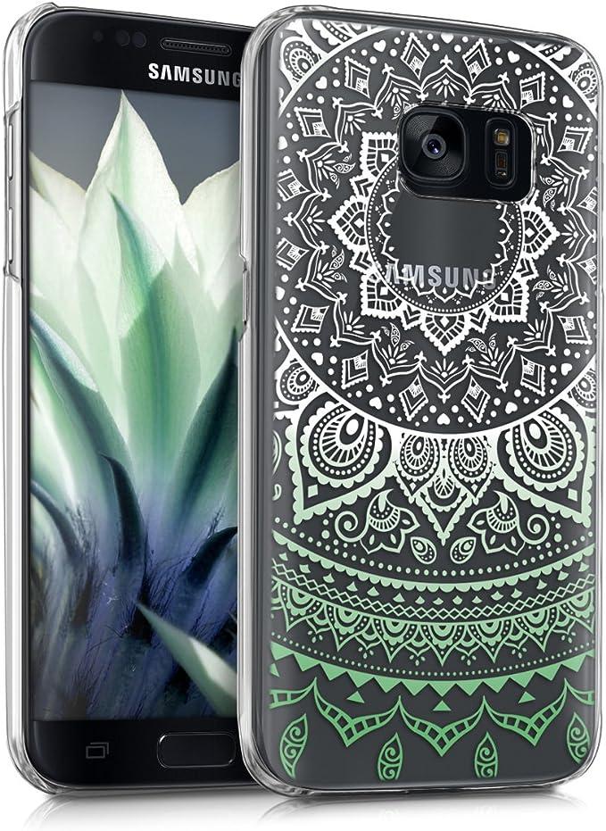 kwmobile Samsung Galaxy S7 Hülle Handyhülle für Samsung Galaxy S7 Handy Case in Mintgrün Weiß Transparent