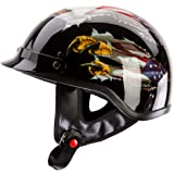 IV2 USA EAGLE Chopper, Cruiser, Beanie, Half Helmet Gloss Black Motorcycle Helmet [DOT] (SMALL) - DESIGNED BY LETHAL THREAT!