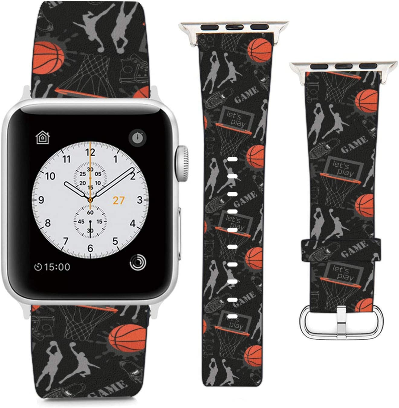 Compatible with Apple Watch Wristband 38mm 40mm, (Basketball Player Pattern) PU Leather Band Replacement Strap for iWatch Series 5 4 3 2 1