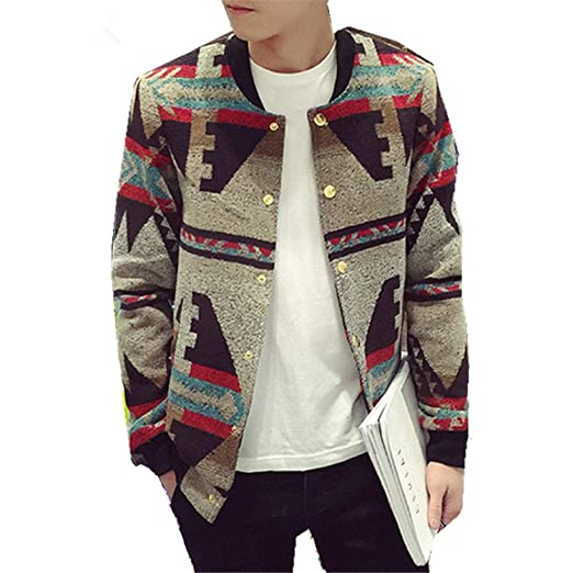 Winter Vintage Printed Thicken Jacket Men Slim Fit Single Breasted Mens Jackets Chaqueta Hombre Floral M at Amazon Mens Clothing store:
