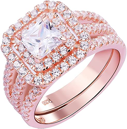 Jude Jewelers Rose Gold Plated Princess Cut Yellow Cubic Zircon Wedding Engagment Halo Ring