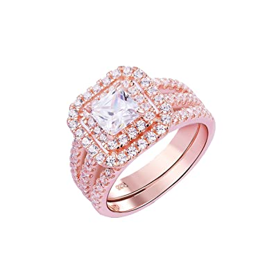 Review Newshe Wedding Engagement Ring Set For Women 925 Sterling Silver Rose 2.2ct Princess White Cz Size 5-10