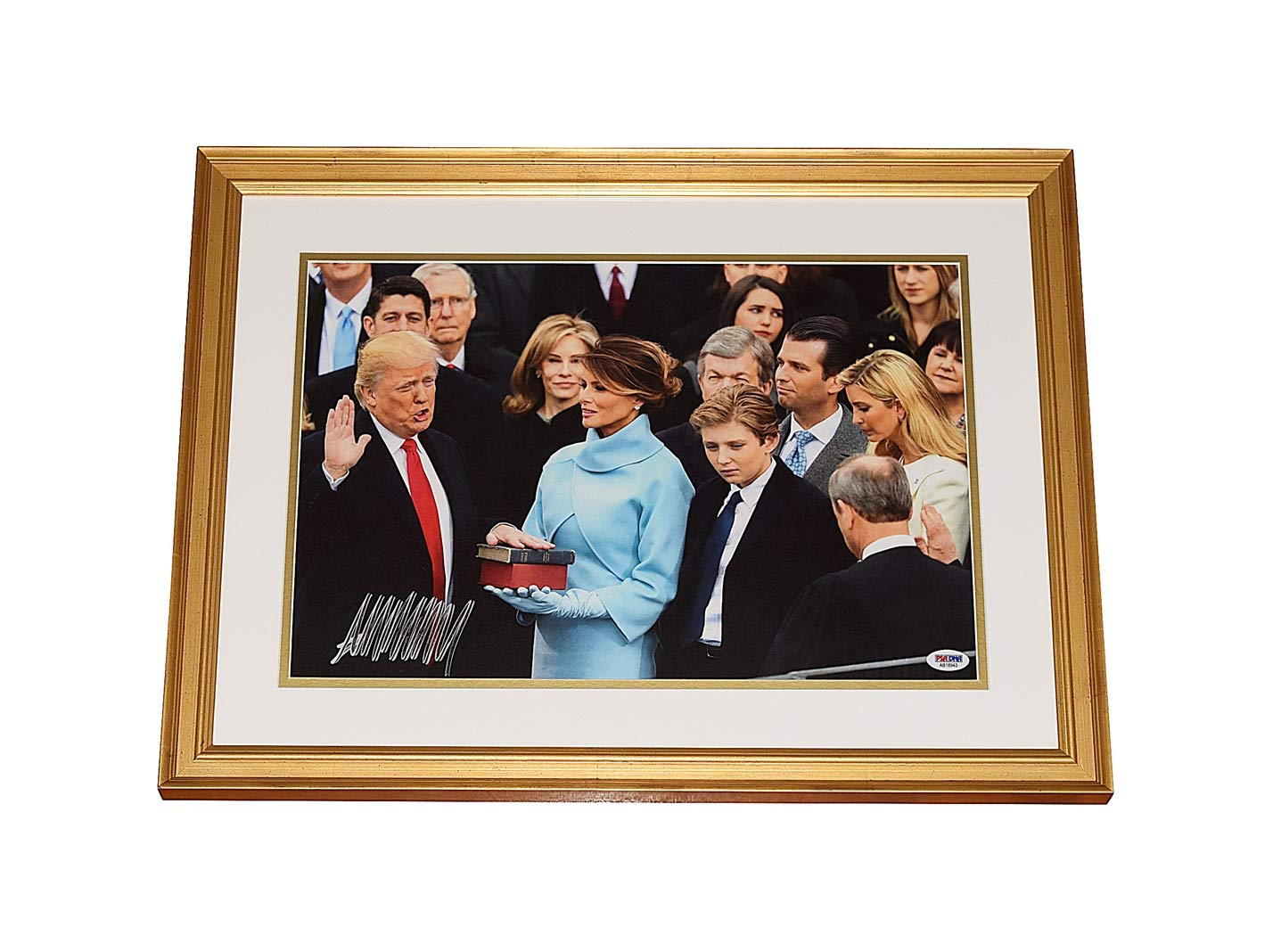 AUTOGRAPHED Donald J. Trump 2016 PRESIDENTIAL INAUGURATION (Taking The Oath Of Office) January 20th, 2016 Signed 10.5X16 Inch Picture Professional 16.5X22 Inch Gold Framed Photo With PSA/DNA COA