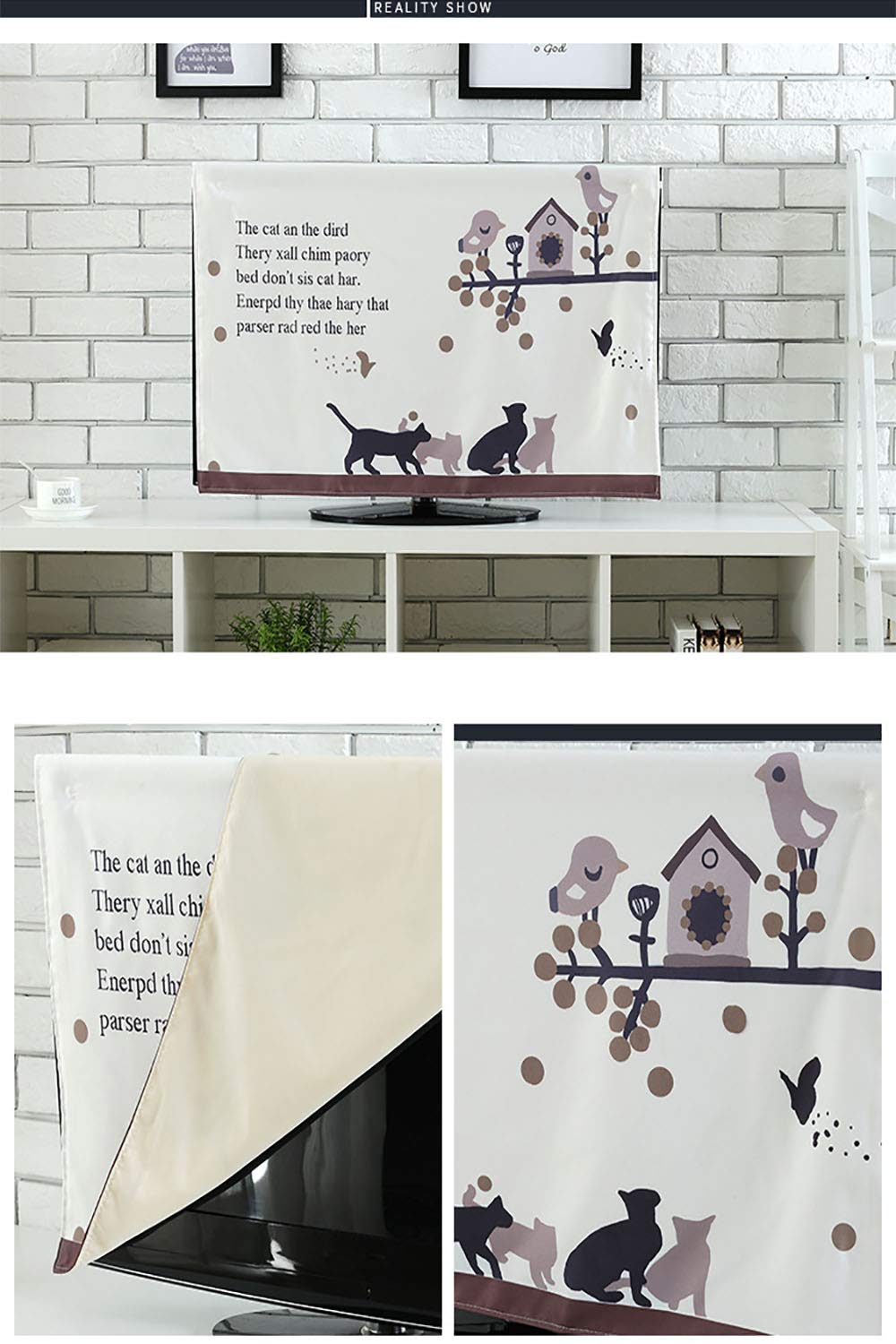 Leighhome Front Flip Top with Surreal Miraculous Clouds in The Sky Art Print Pink Grey Front Flip Top W35 x H55 INCH/TV 60'' by  (Image #2)