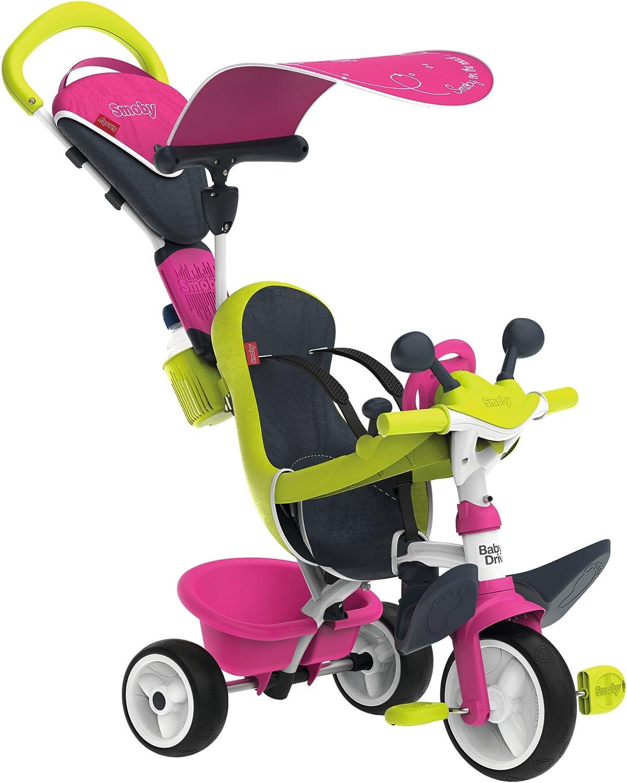 Triciclo Baby Driver Confort rosa con cuadro de metal y ruedas silenciosas (Smoby 741200)