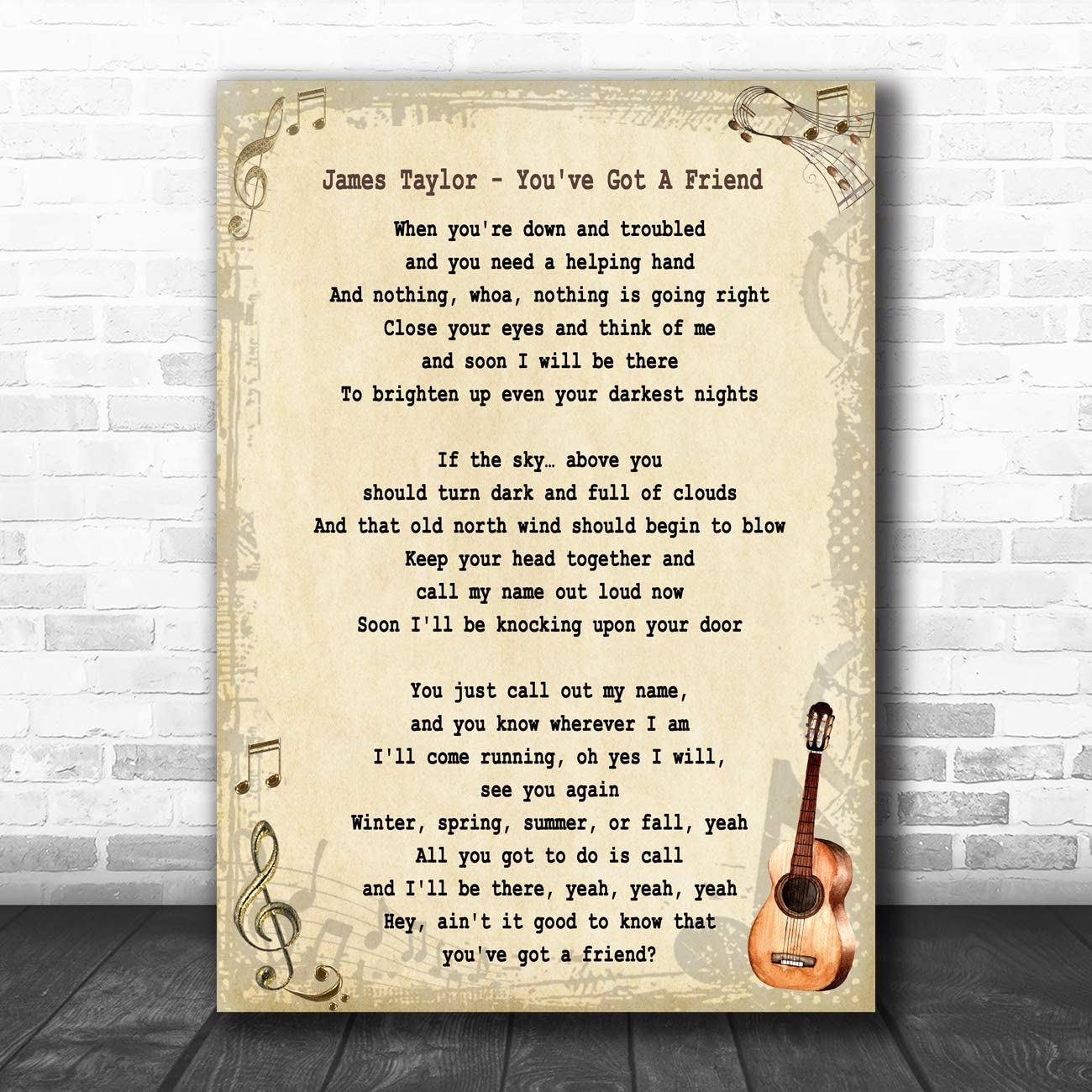 You/'ve Got A Friend Song Lyric Vintage Quote Print