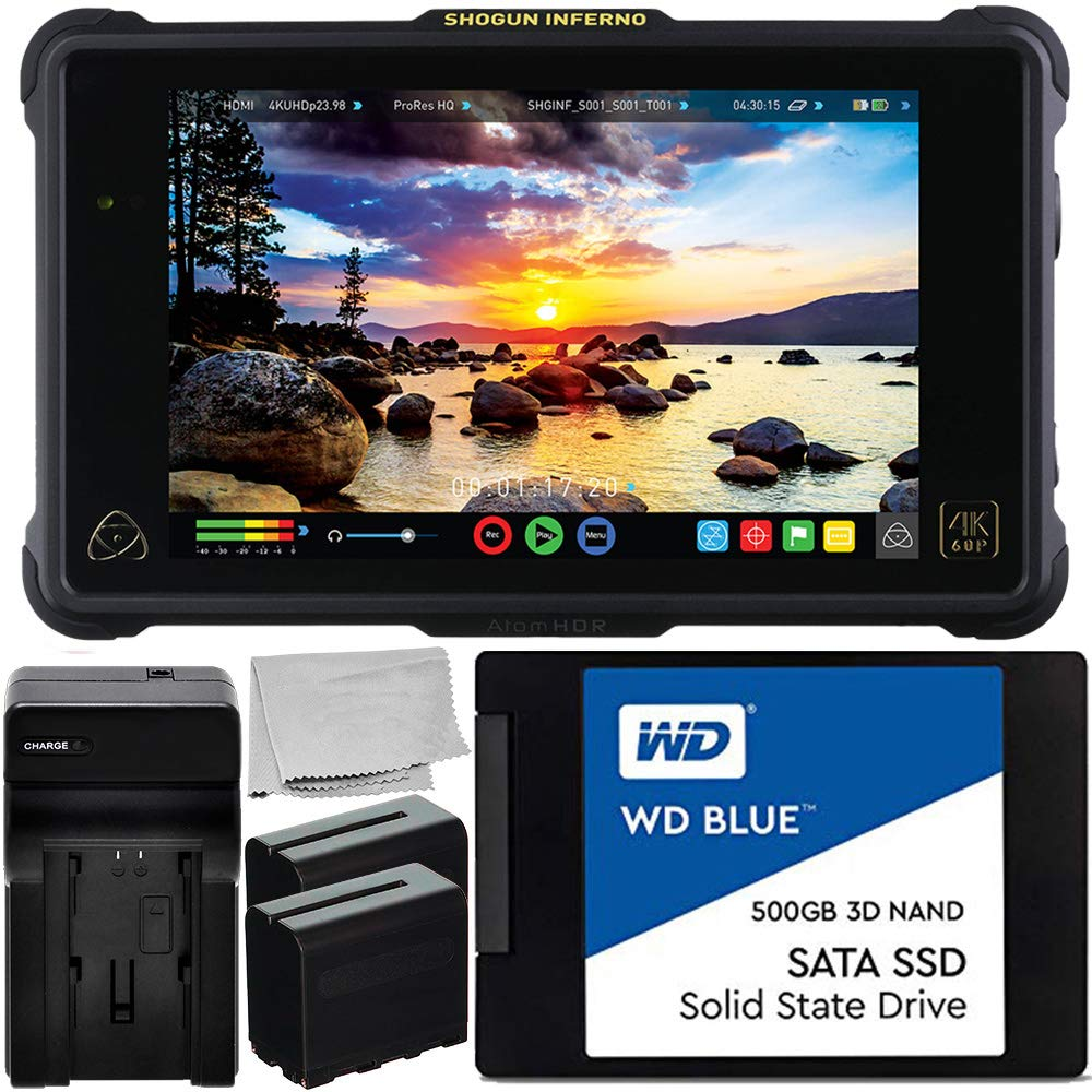 Atomos Shogun Inferno 7'' 4K HDMI/Quad 3G-SDI/12G-SDI Recording Monitor with WD Blue 500GB Sata SSD Essential Bundle - 2X Rechargeable Lithium-Ion Battery + Battery Charger + Microfiber Cleaning Cloth by Atomos