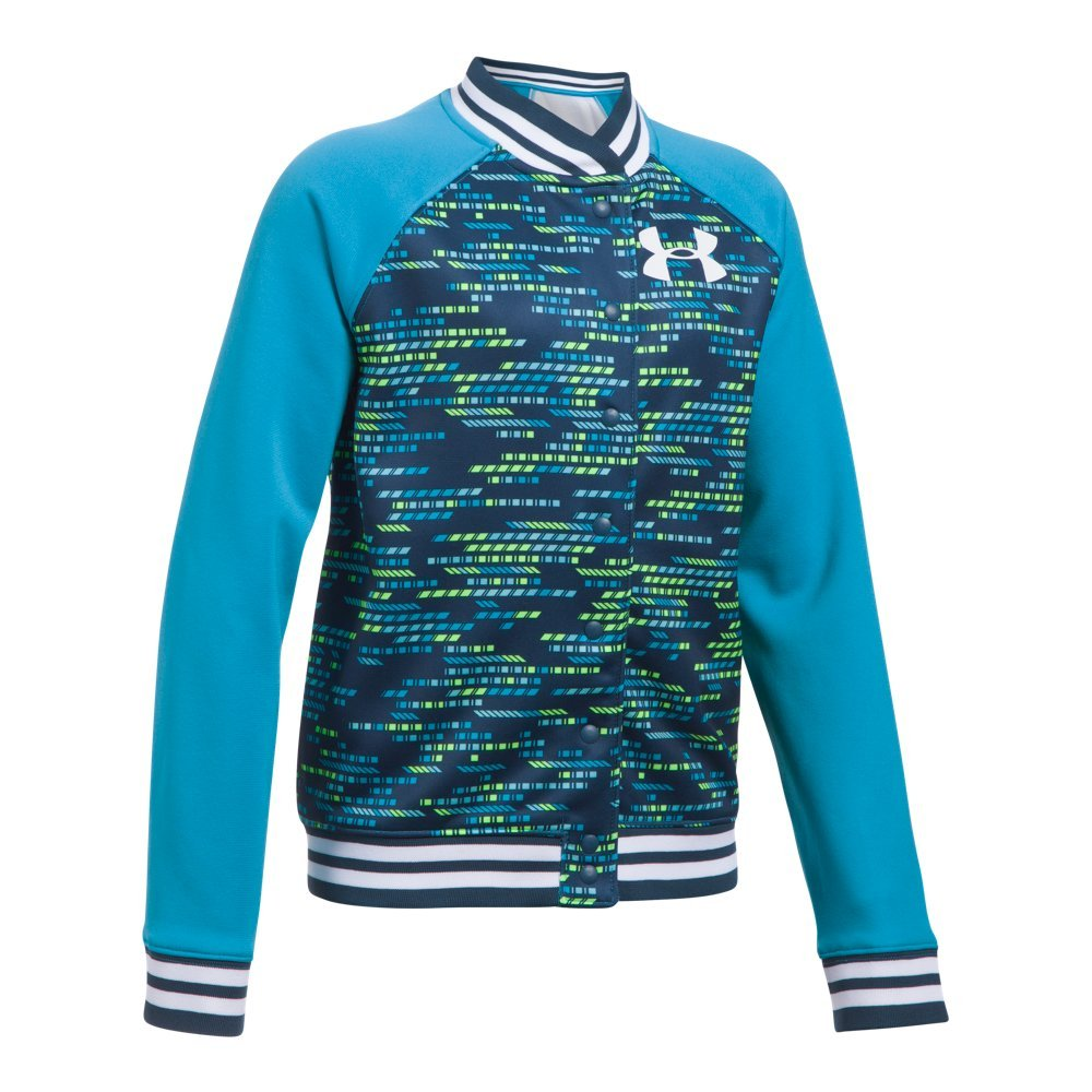 Under Armour Girls' Armour Fleece Bomber,Blue Shift (929)/White, Youth Small by Under Armour