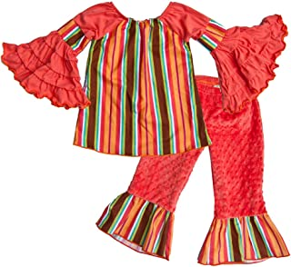 product image for Cheeky Banana Little Girls Fantasy Stripe Top & Minky Ruffle Pants - Coral