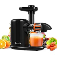 Masticating Juicer, Bagotte Slow Juicer Machines with Reverse Function, Brush, Easy to Clean, Cold Press Juicer Extractor, Quiet Motor, Juice Recipes for Vegetables and Fruits, BPA-Free