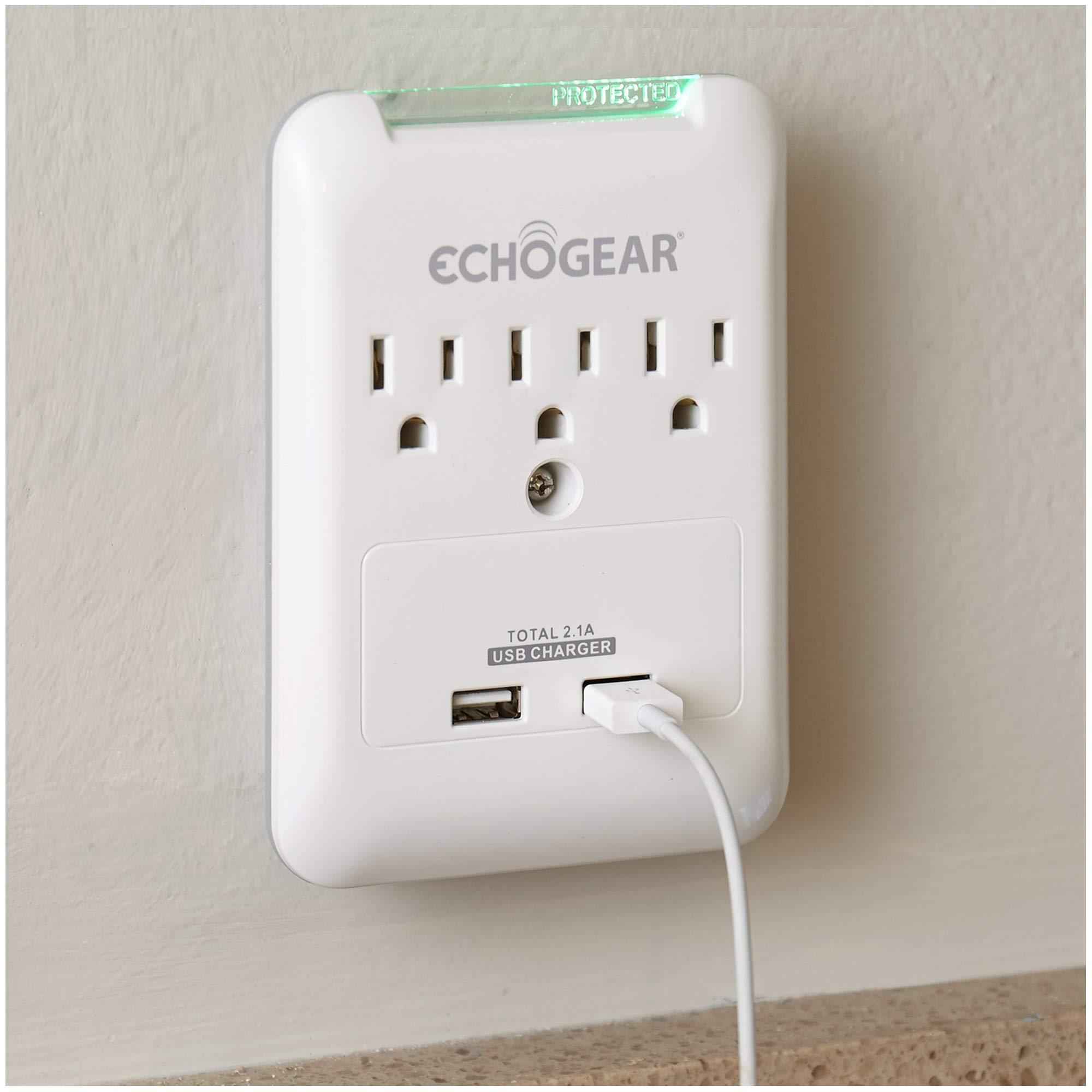 ECHOGEAR Super Slim Multi Plug On-Wall Surge Protector-3 AC Outlet /& 2 USB Ports