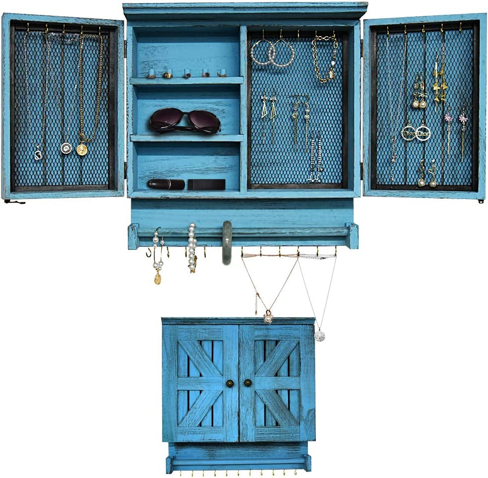GLANT Rustic Wall Mounted Jewelry Organizer with Wooden Barndoor Decor,Wooden Wall Mount Holder,Jewelry holder for Necklaces, Earings, Bracelets, Ring Holder. (Rustic Blue)