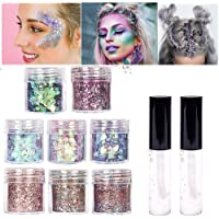 8 color face Glitter Cosmetic Glitter, for Body, Cheeks and Hair, Festival and Party Beauty Makeup - Includes Long Lasting Fix Gel