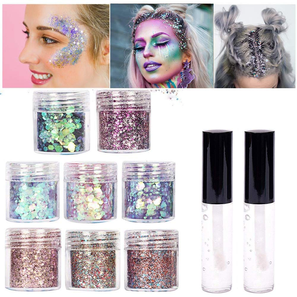 8 color face Glitter Cosmetic Glitter, for Body, Cheeks and Hair, Festival and Party Beauty Makeup - Includes Long Lasting Fix Gel (8 box with fix gel) Yitla