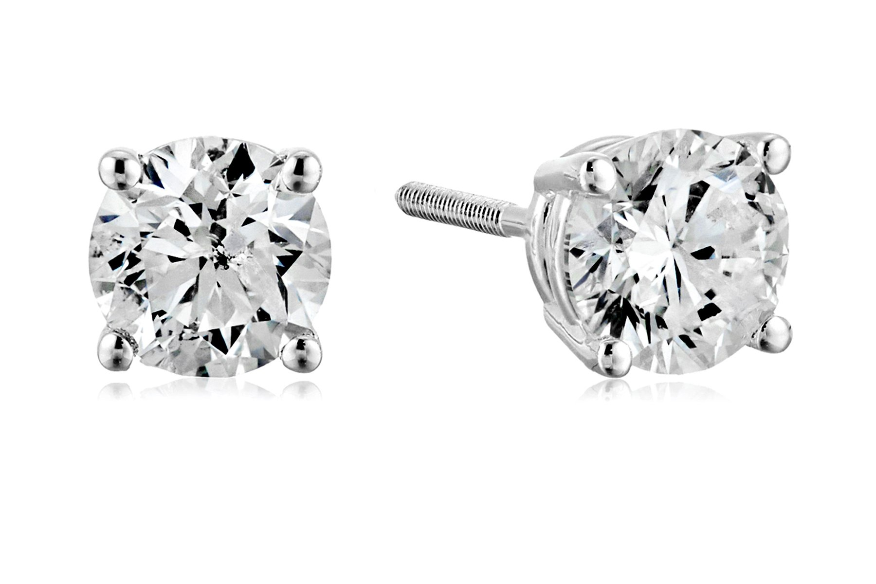 Certified 14k White Gold Diamond with Screw Back and Post Stud Earrings (1 1/2cttw, J-K Color, I1-I2 Clarity)