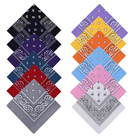 ddf15b63845a YOHOOLYO 12PCS Bandanas Cheveux Homme et Femme Foulard Bandeau Multicolor  Multifonction Cou Tête Echarpe Mouchoirs 100