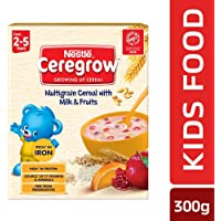 Nestle Ceregrow Fortified Multigrain Cereal with Milk and Fruits, 300g Bag-In-Box Pack