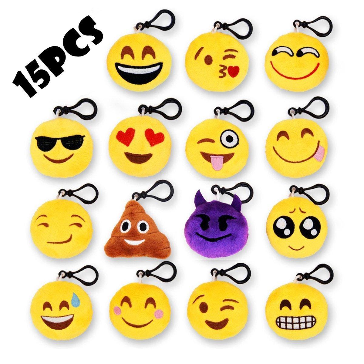 15Pack Alta Calidad Emoji Llaveros, Almohada Mini Plush,Bolso / Llavero y cumpleaños Decoración y accesorios SunliDay Sld-E003