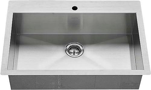 American Standard 18SB.9332211.075 Edgewater Zero Radius Dual Mount 33×22 Single Bowl w grid and drain, Stainless Steel