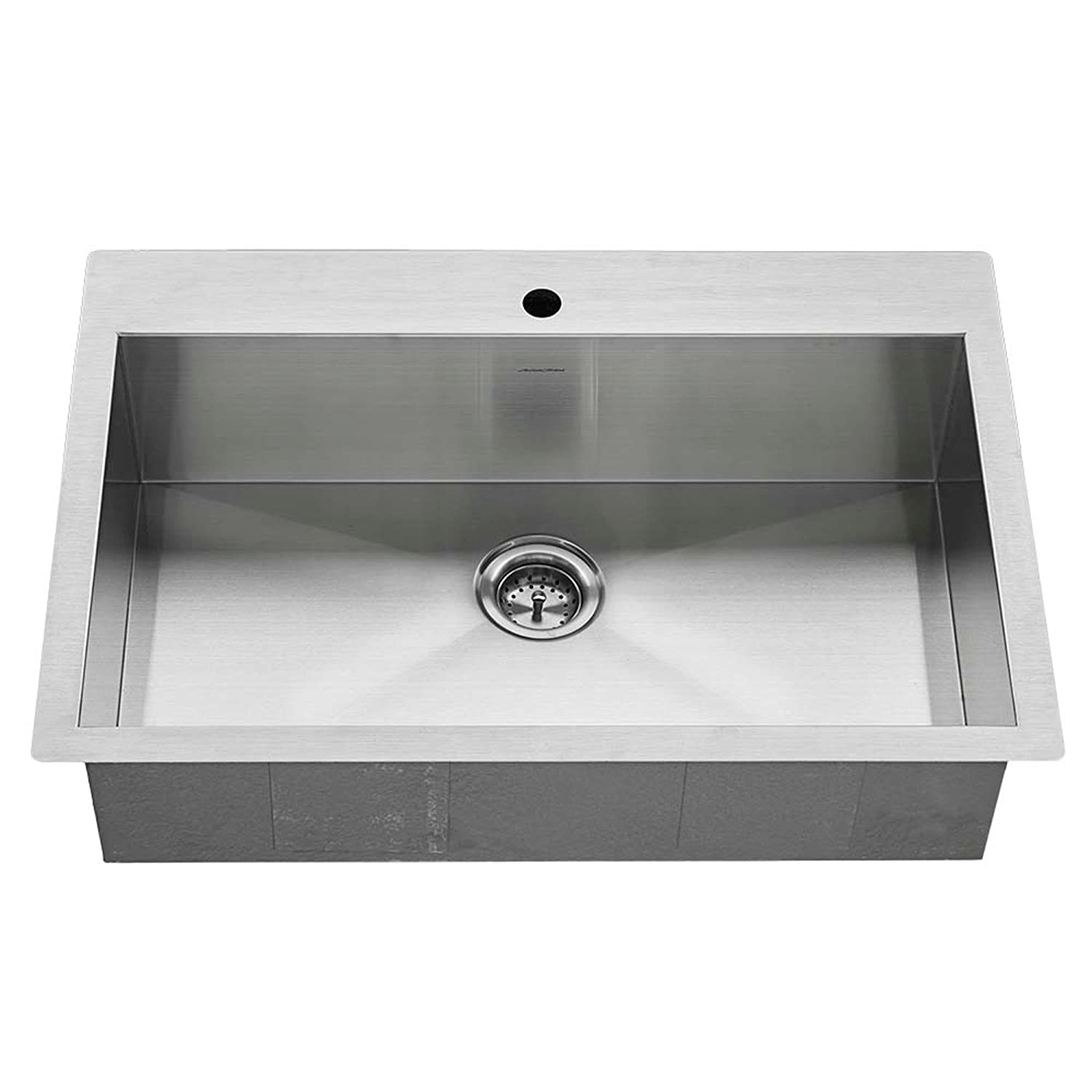 American Standard 18SB.9332211.075 Edgewater Zero Radius Dual Mount 33×22 Single Bowl w grid and drain, Stainless Steel