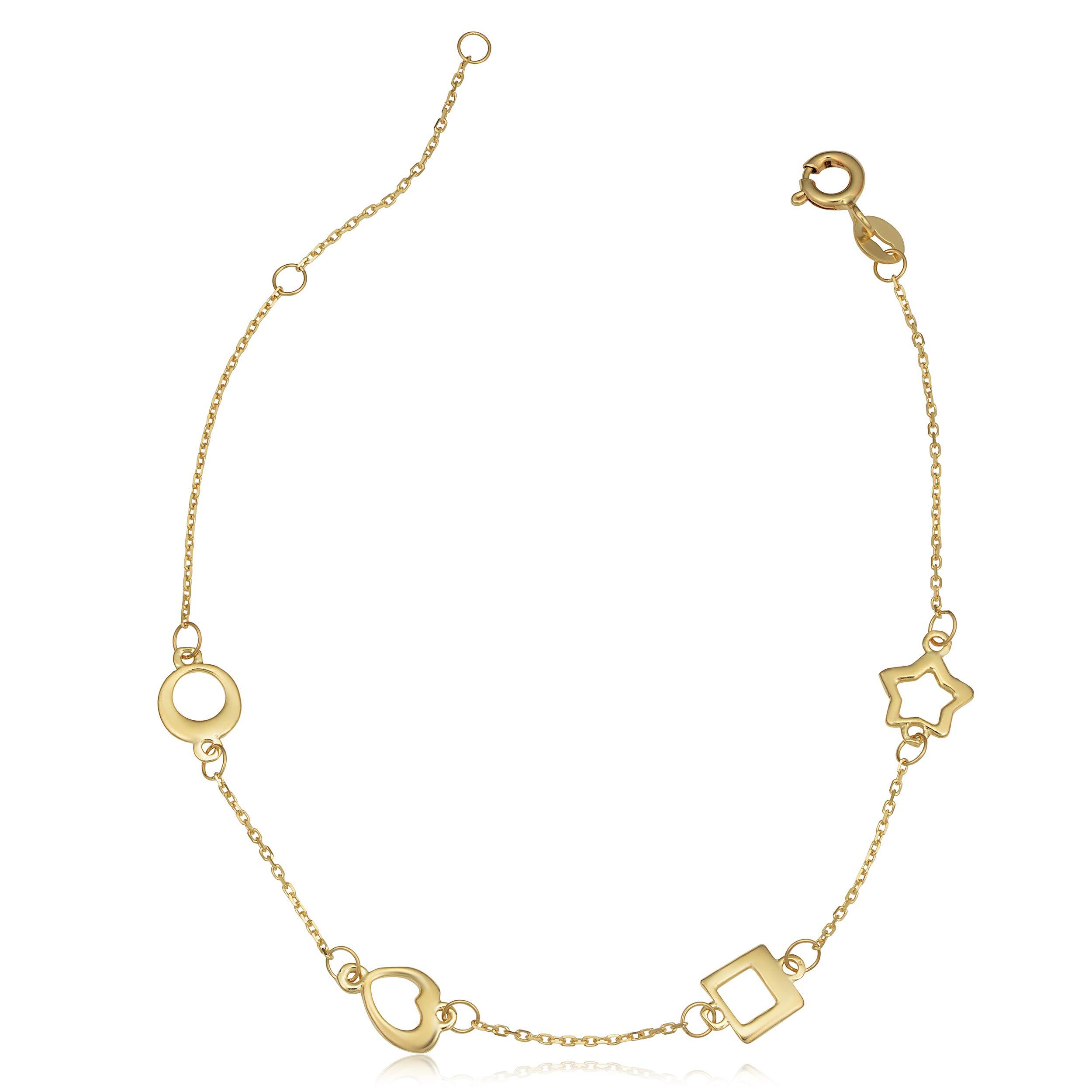 Kooljewelry 14k Yellow Gold Circle Heart Square Star Station Bracelet (adjusts to 6.5 or 7.5 inch) by Kooljewelry