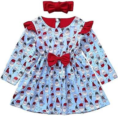 Baiomawzh Vestidos de Navidad para Bebes Niñas Manga Larga Algodón Impresión de Dibujos Animados de Santa Claus Vestido de Princesa+Banda para el Cabello: Amazon.es: Ropa y accesorios