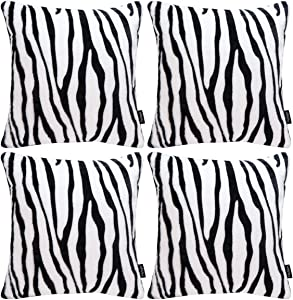 Faylapa 4 Pack Soft Plush Zebra Striped Pillow Covers,Animal Theme Print Faux Fur Decorative Throw Pillowcase Home Decor Cushion Cover 18×18 Inches (45×45cm)(Case ONLY)