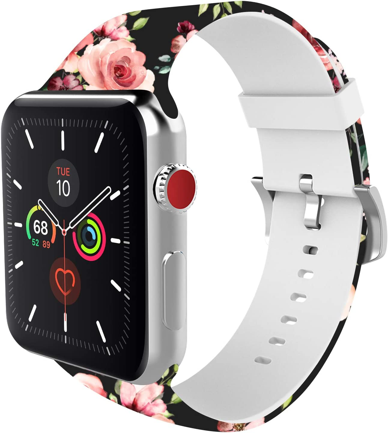 BMBEAR Sports Band Floral Bands Compatible with Apple Watch Band 38mm 40mm Soft Silicone Fadeless Pattern Printed Replacement Sport Band for iWacth Series 6 5 4 3 2 1 Black Rose