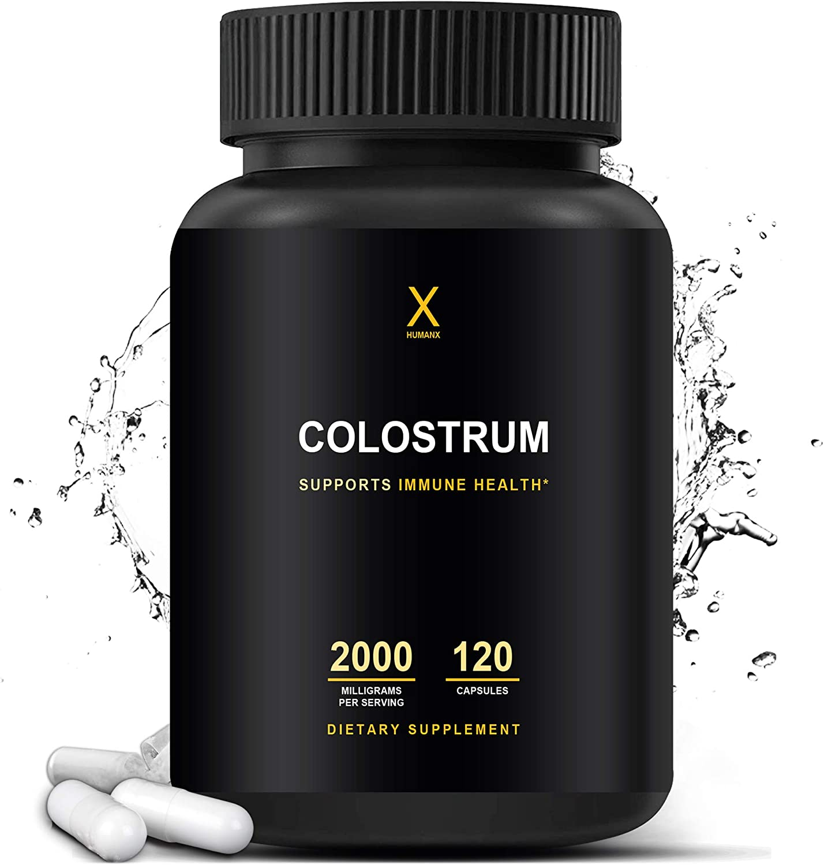 Colostrum 2000mg - Colostrum Capsules - Colostrum Supplement - Lactoferrin Supplements - Colostrum Pills - Colostrum Plus Lactoferrin Supplements- Immunity Body Boost Colostrum - HumanX