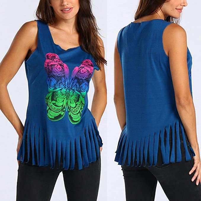 Verano Camisetas De Mujer 💝 Yesmile Camiseta Estampada Mariposa Mujer Sin Mangas Chaleco Tanque Túnica Borla Blusa (Azul, XXL): Amazon.es: Iluminación