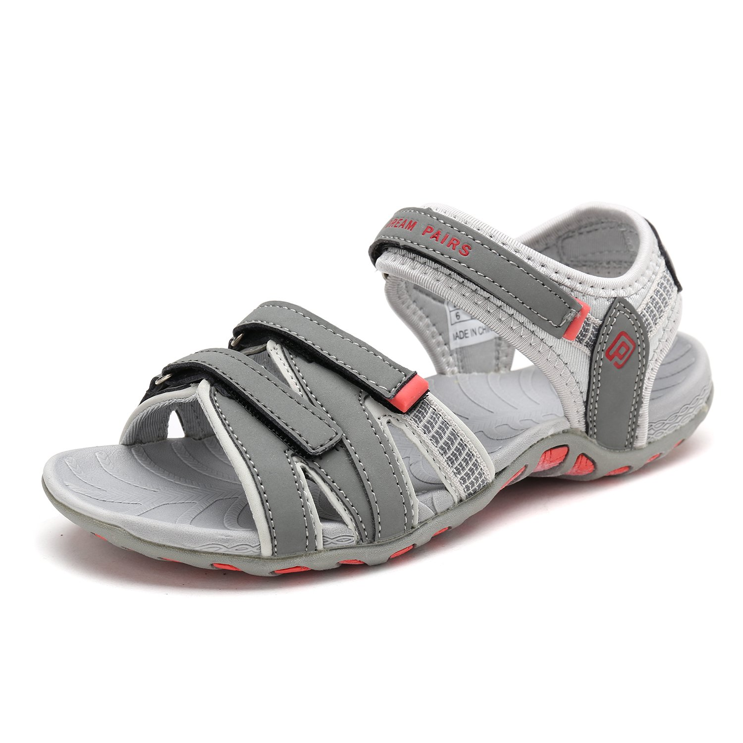 DREAM PAIRS Women's 160912-W Adventurous Summer Outdoor Sandals B07897Z6PC 6 B(M) US|Grey/Lt.grey/Coral
