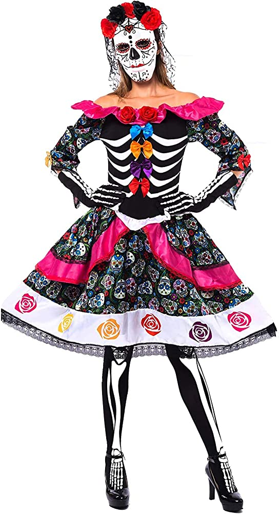 Day of the Dead Mexican Senorita Full Mask Halloween Sugar Skull Costume