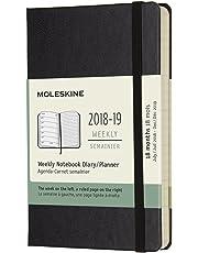Moleskine 2019 Agenda Settimanale 18 Mesi, con Spazio per Note, Tascabile, Copertina Rigida, Nero