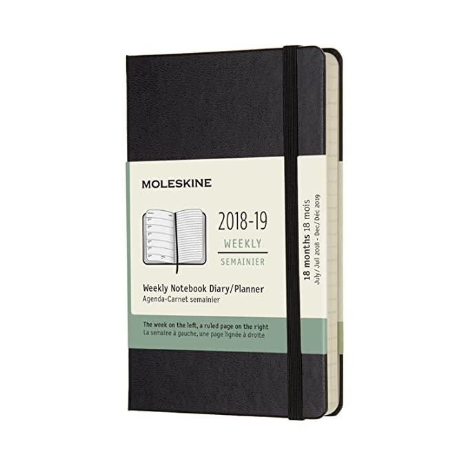 Moleskine Classic Hard Cover 2018/2019 18 Month Weekly Planner, Pocket Size (3.5