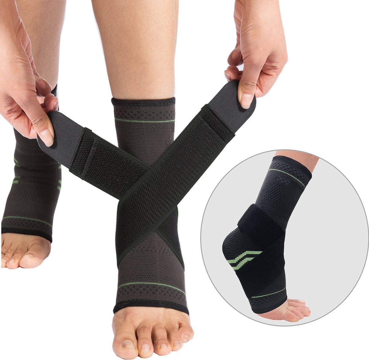 SWOLF 1 Pair Plantar Fasciitis Compression Socks Sleeves for Men & Women with Ankle Brace Strap for Support & Relief Arch Pain, Reduce Foot Swelling, Eases Achilles Tendonitis & Heel Spurs (Green, M)