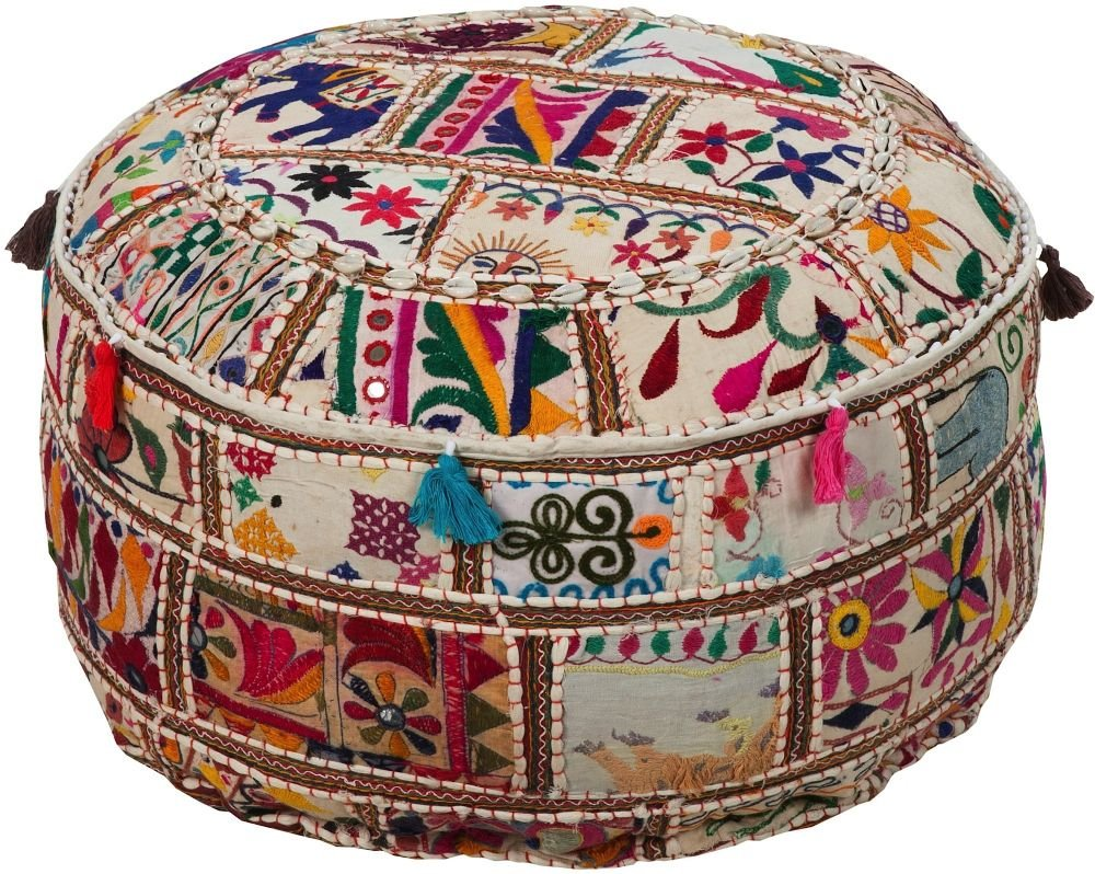 Surya Contemporary Round pouf/ottoman 22''x22''x12'' in Multi Color From Surya Poufs Collection