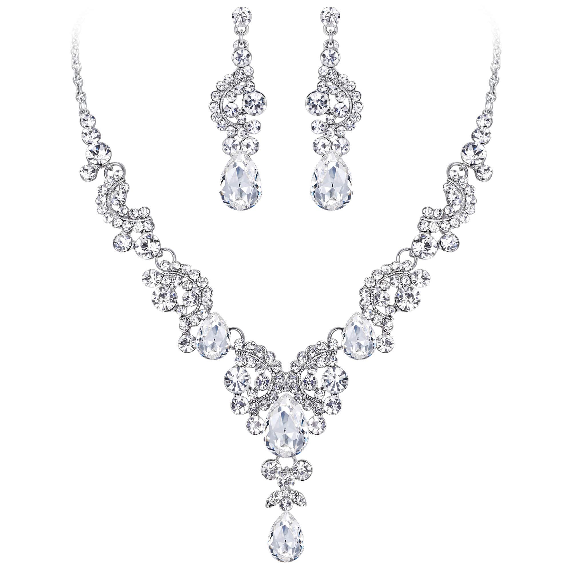 EVER FAITH Austrian Crystal Bridal Floral Wave Teardrop Necklace Earrings Set Clear Silver-Tone by EVER FAITH
