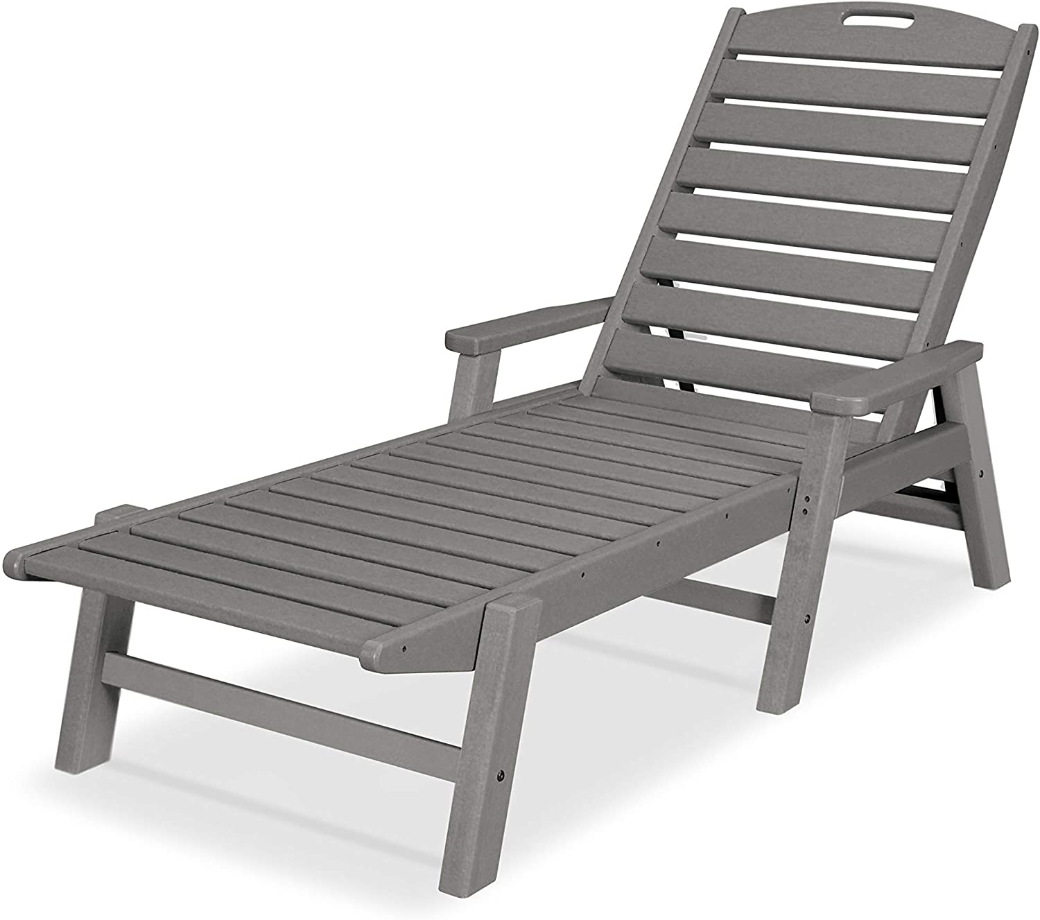 POLYWOOD NCC2280GY Nautical Arms Chaise, Slate Grey