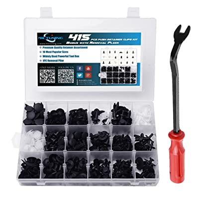 MICTUNING 18 Most Popular Sizes 415 Pcs Plastic Car Push Retainer Clips Kit with Fastener Remover Auto Trim Assortment Set For GM Ford Toyota Honda Chrysler: Automotive