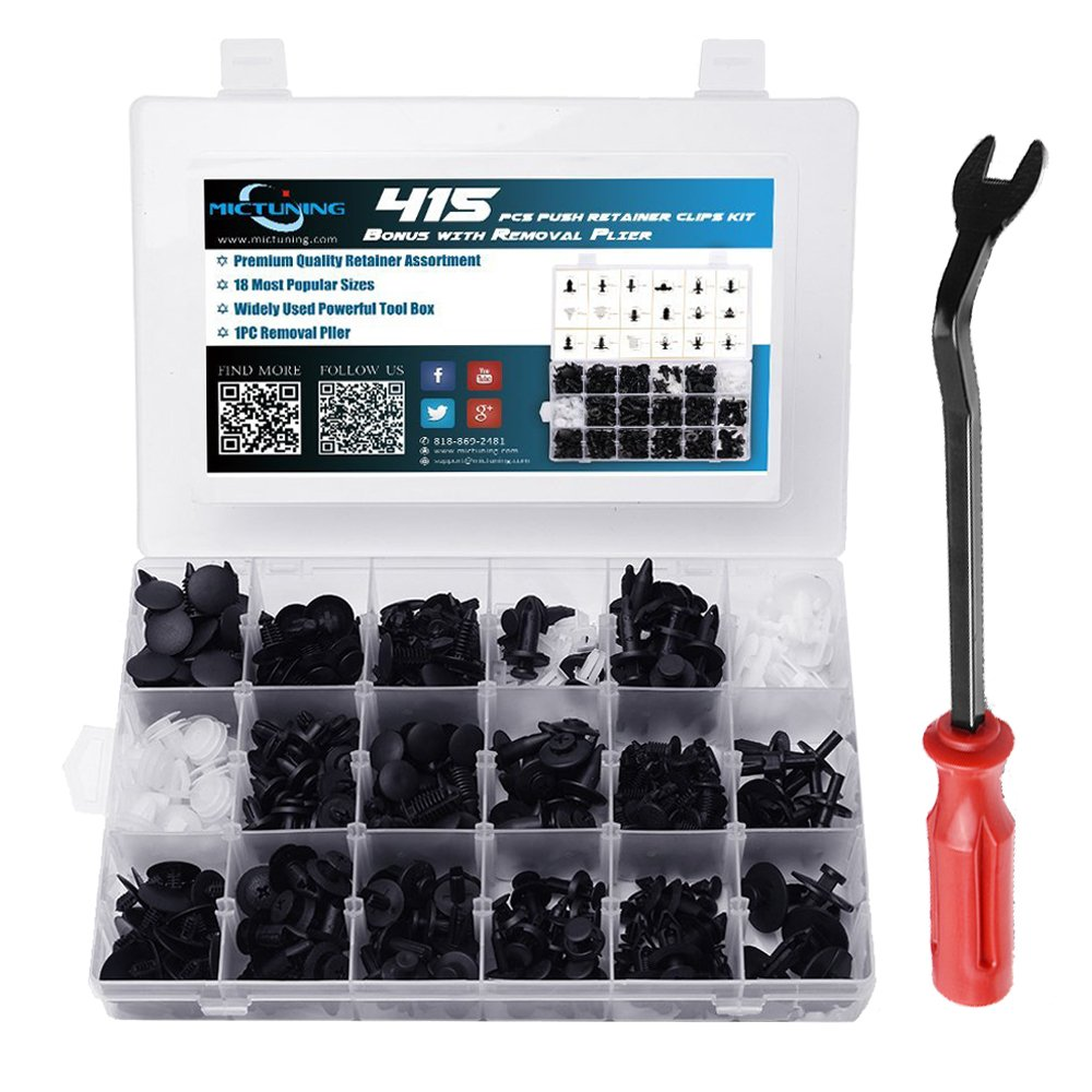 MICTUNING 18 Most Popular Sizes 415 Pcs Plastic Car Push Retainer Clips Kit with Fastener Remover Auto Trim Assortment Set for GM Ford Toyota Honda Chrysler by MICTUNING (Image #1)