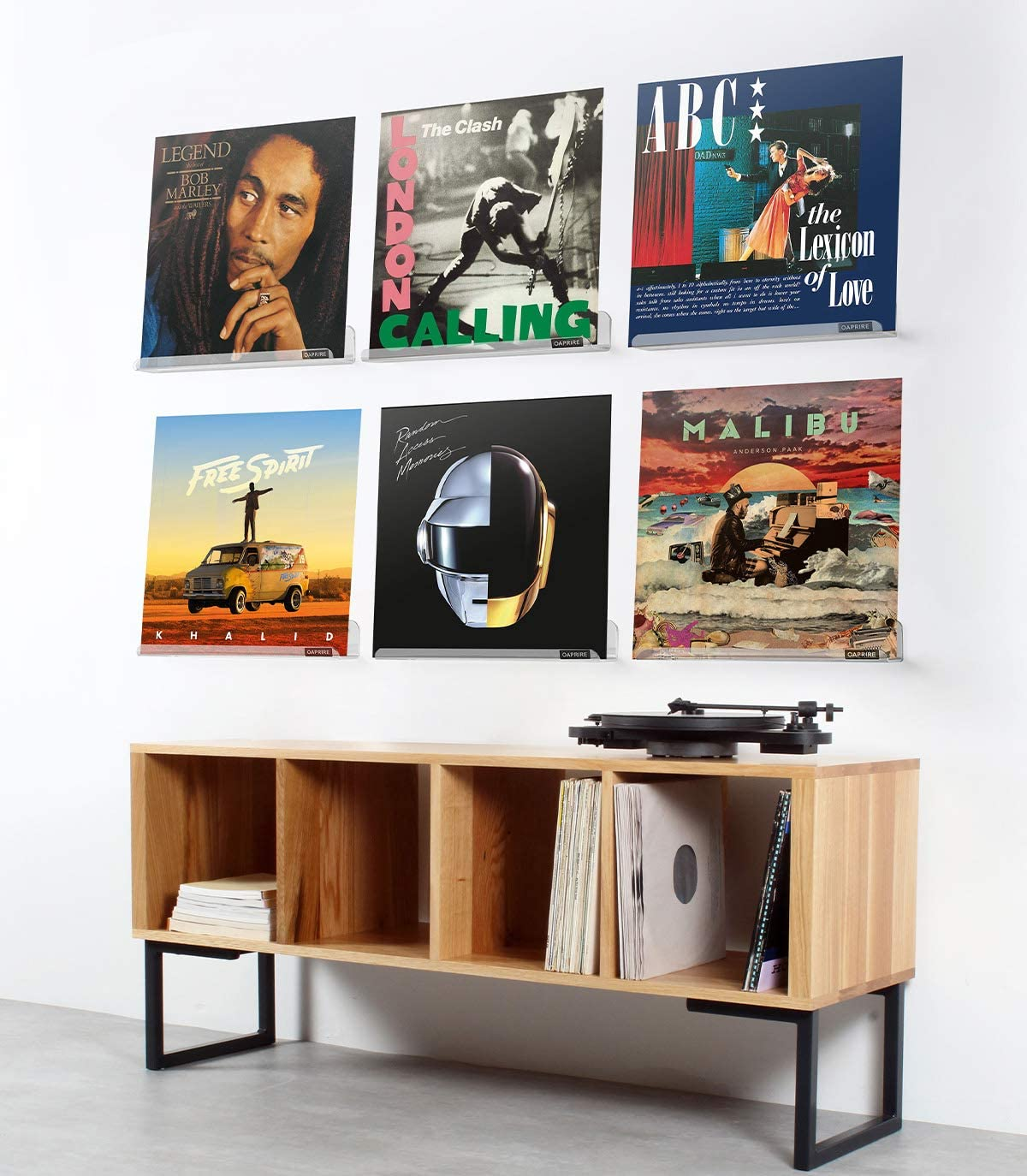 OAPRIRE Vinyl Record Holder Shelf Set of 6 - Display for Your Favorite LP Records - Best Clear Acrylic Record Shelf Wall Mount - Create Stylish&Custom Spaces : Office Products