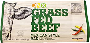 DNX Bar-Grass Fed Beef Whole Food Protein Bar-Mexican Style- Organic Fruits and Veggies, Gluten Free, Non-GMO, No Dairy, Whole30 Approved, Paleo Inspired Meat Bar with a Truly Epic Taste (8 Bars)