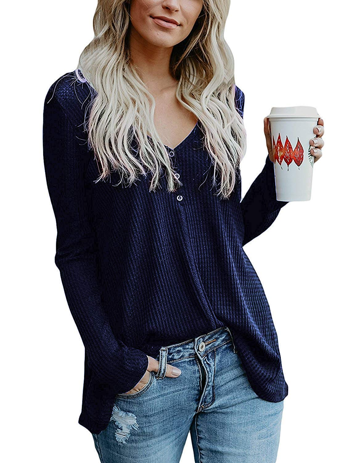 Tonwod Womens Henley Shirts V Neck Button Long Sleeve Loose Casual Knit Sweaters Tops (Large, Dark Blue)