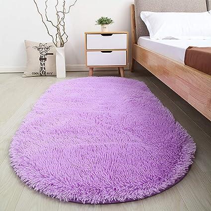 Softlife Soft Velvet Oval Area Rugs Modern Shaggy Carpet Cute Rug For  Bedroom Girls Room Dining