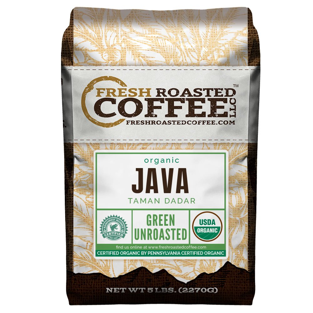 Fresh Roasted Coffee LLC, Green Unroasted Java Taman Dadar Coffee Beans, USDA Organic, RFA, 5 Pound Bag by FRESH ROASTED COFFEE LLC FRESHROASTEDCOFFEE.COM