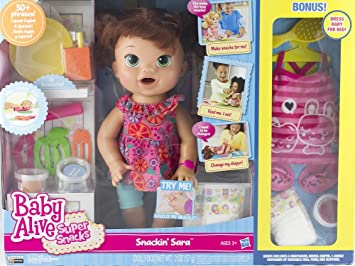 70b9e7fee Hasbro Baby Alive Super Snacks Snackin  Sara Brunette with Bonus ...