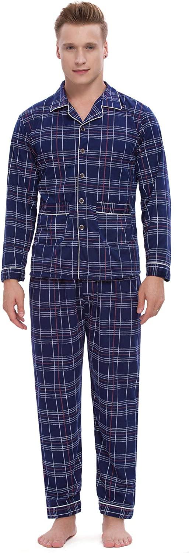 ARBLOVE Klassisch Schlafanzug Herren Pyjama Lang Baumwolle Winter Streifen Zweiteilige Nachtw/äsche Langarm Shirt und Pyjamahose mit V-Ausschnitt und Knopfleiste-Design