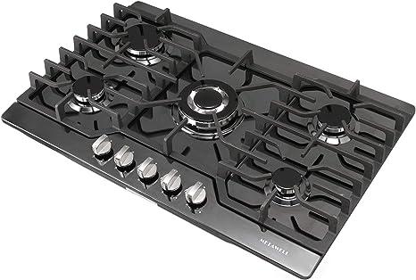 Metawell - Hornillo de cocina de titanio negro de 76,2 cm con 5 quemadores integrados, cocina de gas natural