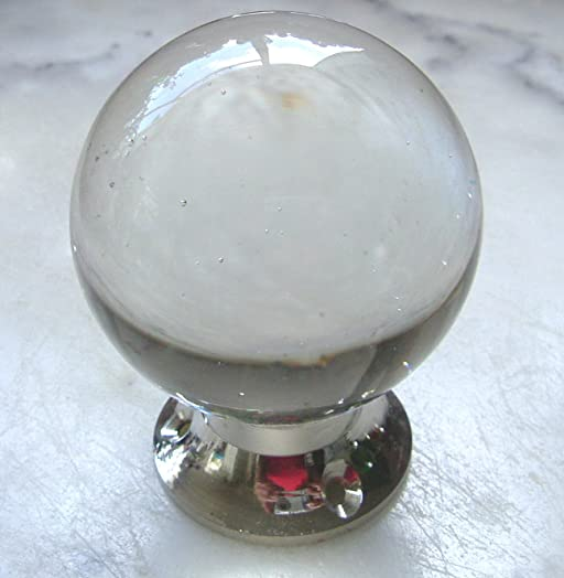 crystal clear round glass door knobs chrome base pairs
