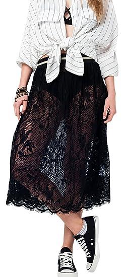 Q2 Falda Midi Negra de Encaje Mujer: Amazon.es: Ropa y accesorios